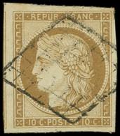 EMISSION DE 1849 - 1a   10c. Bistre-brun, Oblitéré GRILLE, Marges énormes, TTB - 1849-1850 Ceres