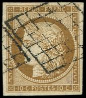EMISSION DE 1849 - 1a   10c. Bistre-brun, Oblitéré GRILLE, TB - 1849-1850 Ceres