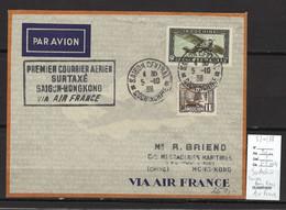 Indochine - Saigon - Hong Kong - 1er Vol Air France - 05/10/1938 - Poste Aérienne