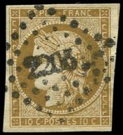 EMISSION DE 1849 - 1a   10c. Bistre-brun, Jolie Nuance, Obl. PC, TB. J - 1849-1850 Ceres