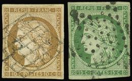 EMISSION DE 1849 - 1a Et 2, 10c. Bistre-brun Et 15c. Vert, Obl. Grille Et Etoile, TB - 1849-1850 Ceres