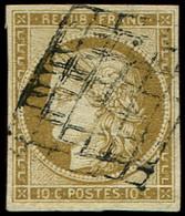 EMISSION DE 1849 - 1b   10c. Bistre-VERDATRE, Oblitéré GRILLE, TB. Br - 1849-1850 Ceres