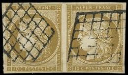 EMISSION DE 1849 - 1b   10c. Bistre-VERDATRE, PAIRE Obl. GRILLE, Légère Froissure, Sinon TB. C - 1849-1850 Ceres