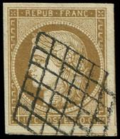 EMISSION DE 1849 - 1c   10c. Bistre-VERDATRE TRES FONCE, Obl. GRILLE, Superbe Nuance, TTB. C - 1849-1850 Ceres