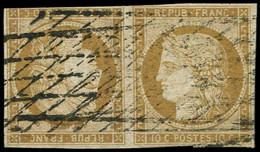 EMISSION DE 1849 - T1d  10c. Bistre Jaune, TETE BECHE Obl. GRILLE SANS FIN, Avec Défauts Mais Bonne Pièce D'attente - 1849-1850 Ceres
