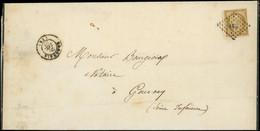 Let EMISSION DE 1849 - 1    10c. Bistre-jaune, Petit BORD DE FEUILLE, Obl. PC 332 S. LSC, Càd T15 BEAUVAIS 26/12/52, TB - 1849-1876: Classic Period
