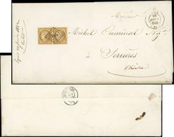 Let EMISSION DE 1849 - 1    10c. Bistre-jaune, PAIRE Obl. PC 1818 S. 2 Faire-part De Mariage, Càd Octog. D'ESSAI LYON 29 - 1849-1876: Classic Period