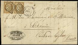 Let EMISSION DE 1849 - 1a   10c. Bistre-brun, PAIRE Obl. GRILLE S. LAC, Càd T15 LODEVE 17/9/51, TB - 1849-1876: Classic Period