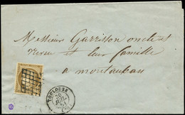 Let EMISSION DE 1849 - 1b   10c. Bistre-VERDATRE, Obl. GRILLE S. LAC, Càd T15 TOULOUSE 30/7/51, Arr. MONTAUBAN 31/7, Tar - 1849-1876: Classic Period