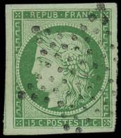 EMISSION DE 1849 - 2    15c. Vert, Obl. ETOILE, Belles Marges, Amorce De Voisin à Gauche, TTB - 1849-1850 Ceres