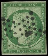 EMISSION DE 1849 - 2    15c. Vert, Obl. ETOILE, Petites Marges Intactes, TB, Certif. JF Brun - 1849-1850 Ceres