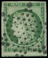 EMISSION DE 1849 - 2b   15c. Vert FONCE, Voisin En Bas, Obl. ETOILE, TB, Certif. Calves - 1849-1850 Ceres