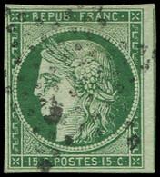 EMISSION DE 1849 - 2c   15c. Vert TRES FONCE, Obl. ETOILE, TB - 1849-1850 Ceres