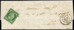 Let EMISSION DE 1849 - 2    15c. Vert Obl. ETOILE S. LAC, Càd PARIS 29/1/52, 1er Mois D'utilisation De L'Etoile, TTB - 1849-1876: Classic Period