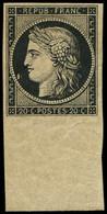 ** EMISSION DE 1849 - 3    20c. Noir Sur Jaune, Bdf, Très Frais, Inf. Trace D'adh., TTB. C - 1849-1850 Ceres