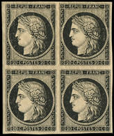 ** EMISSION DE 1849 - 3    20c. Noir Sur Jaune, BLOC De 4, 1 T. Inf. Ch., Fraîcheur Postale, TTB - 1849-1850 Ceres