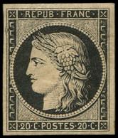 * EMISSION DE 1849 - 3    20c. Noir Sur Jaune, Gomme Brunâtre, TB. J - 1849-1850 Ceres