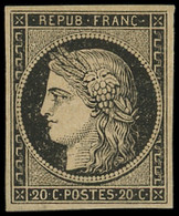 * EMISSION DE 1849 - 3    20c. Noir Sur Jaune, Forte Ch., TB. J - 1849-1850 Ceres