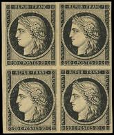 * EMISSION DE 1849 - 3    20c. Noir Sur Jaune, BLOC De 4, Ch. Légère, Très Frais Et TB - 1849-1850 Ceres
