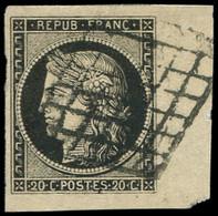 EMISSION DE 1849 - 3    20c. Noir Sur Jaune, COIN De FEUILLE, Obl., Superbe - 1849-1850 Ceres