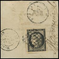 EMISSION DE 1849 - 3    20c. Noir Sur Jaune, 4 Amorces De Voisins, Obl. GRILLE S. Fragt, Càd T15 BEZIERS Et MONTPELLIER, - 1849-1850 Ceres