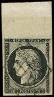 EMISSION DE 1849 - 3    20c. Noir Sur Jaune, Obl. GRILLE, Froiss. Au Niveau Du Bdf, Aspect TTB - 1849-1850 Ceres