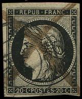 EMISSION DE 1849 - 3    20c. Noir Sur Jaune, Obl. PLUME Et Càd, TB - 1849-1850 Ceres