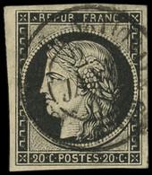 EMISSION DE 1849 - 3    20c. Noir Sur Jaune, Obl. Càd ASSEMBLEE NATIONALE/(POSTES) 2 JANV 49, 1ère Date Connue, RRR, TB. - 1849-1850 Ceres