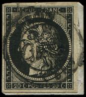 EMISSION DE 1849 - 3    20c. Noir Sur Jaune, Obl. Cursive 58/CUTS Et Càd T15 NOYON (4)/JANV/49 Sur Petit Fragt, TB - 1849-1850 Ceres