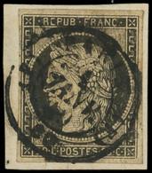 EMISSION DE 1849 - 3    20c. Noir Sur Jaune, Obl. Càd (F) PARIS (F) 1 JANV 49 S. Petit Fragt, TB. Br - 1849-1850 Ceres