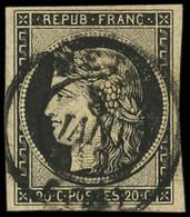EMISSION DE 1849 - 3    20c. Noir Sur Jaune, Obl. Càd T15 METZ 8 JANV 49, TB - 1849-1850 Ceres