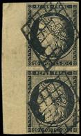 EMISSION DE 1849 - 3    20c. Noir Sur Jaune, PAIRE Bdf, Obl. GRILLE, TTB - 1849-1850 Ceres