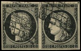 EMISSION DE 1849 - 3    20c. Noir Sur Jaune, PAIRE Obl. GRILLE, TB - 1849-1850 Ceres