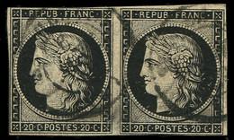 EMISSION DE 1849 - 3    20c. Noir Sur Jaune, PAIRE Obl. Càd T15 Du 6 JANV 49, Un Ex. Défx, Sinon TB - 1849-1850 Ceres