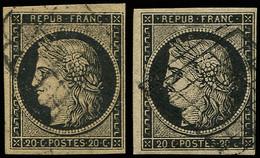EMISSION DE 1849 - 3    20c. Noir Sur Jaune, 2 Nuances, Obl. GRILLE, TB - 1849-1850 Ceres