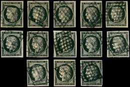 EMISSION DE 1849 - 3    20c. Noir Sur Jaune Et 20c. Noir Sur Blanc, 13 Ex. Obl. GRILLE, TB/TTB - 1849-1850 Ceres