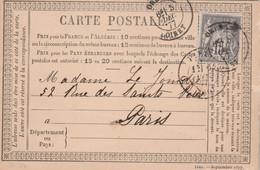 Yvert 77 Sage Entier Carte Précurseur ORLEANS Loiret 5/12/1877 Pour Paris -  Pli - Cartes Précurseurs