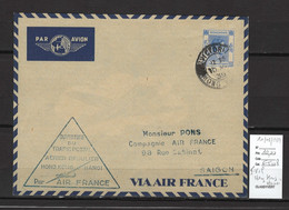 Hong Kong - 1er Vol Vers Hanoi - Indochine Française - 10/03/1939 - Lettres & Documents