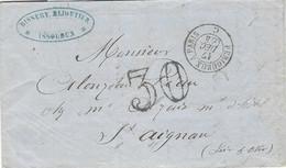 1864 - Lettre En Port Du D'Issoudun Avec AMB. Nuit PERIGUEUX A PARIS + Taxe Dt 30 - 1849-1876: Klassieke Periode