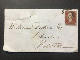 Victoria 1848 Cover London To Preston Tied With 1d Red Imperf + Maddox St. Single Line Mark - Covers & Documents
