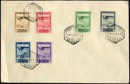1929 Exp. Sevilla Y Barcelona Edifil 448/53(º) SERIE COMPLETA AVION V. Catalogo 160€ - Cartas