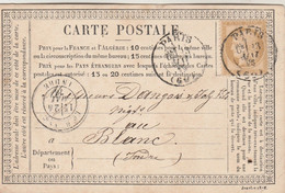 Yvert 59 Cérès Entier Carte Précurseur Entête Cachet Jacques Lévy Cachet à Date PARIS 13/5/1875 Pour Le Blanc Indre - Precursor Cards