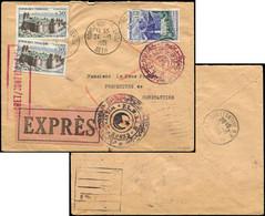 Let France N°1236 (2) Et 1241 Obl. BORDJ BOU ARRERIDJ 24/10/61 S. Env. Exprès, Cachet Wylaya 2 Et GPRP/ETAT MAJOR Gral W - Briefe U. Dokumente