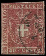 ITALIE (ANCIENS ETATS) TOSCANE 21 : 40c. Rouge, Obl. Càd, B/TB. C - Toscane