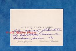Carte De Visite Ancienne - BORDEAUX BASTIDE - Monsieur & Madame Paul CARDE - 33 Quai De Queyries - Généalogie - Visiting Cards