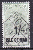 Isle Of Man 1895 Queen Victoria One Shilling Revenue Stamp Surcharged Fiscally Cancelled In Very Good Condition. - Isla De Man