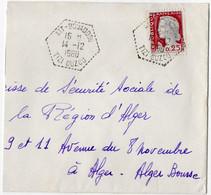 ALGERIE - Enveloppe De 1960 Avec Cachet Hexagonal Pointillé De AIT BOUADDOU (TIZI OUZOU) Pour ALGER - Briefe U. Dokumente