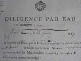 1787 RARE MESSAGERIES ROYALES ROULAGE TRANSPORT FLUVIAL DILIGENCE Par EAU Paris Rouen V.SCANS - ... - 1799