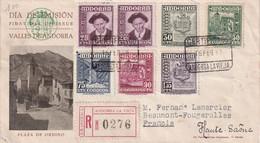 ANDORRE ESPAGNOL  1958 FDC RECOMMANDEE DE ANDORRA LA VIEJA AVEC CACHET ARRIVEE FOUGEROLLES - Cartas