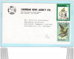 BARBADOS - Brief Cover Lettre FIRMA 467 530 Vögel Tiere - Militär Flagge - CARIFESTA 1981 (23191) - Barbados (1966-...)